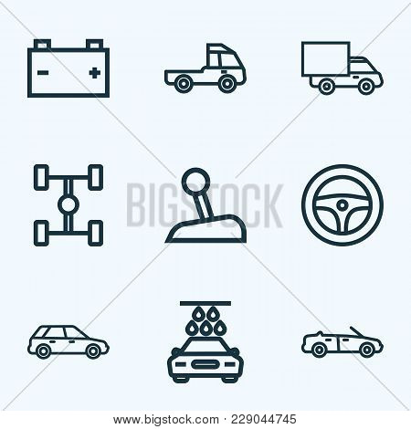 Automobile icons line style set with steering wheel, prime-mover, wheelbase and other truck  elements. Isolated vector illustration automobile icons. stock photo