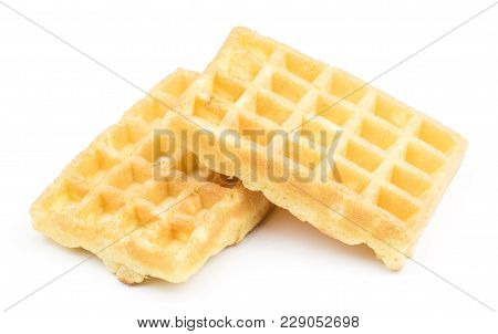 Two traditional waffle (Belgian) isolated on white background sweet delicate airy stock photo