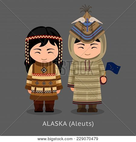 Aleuts in national clothes with a flag. Man and woman in traditional costume. Travel to Alaska. People. Vector flat illustration. stock photo