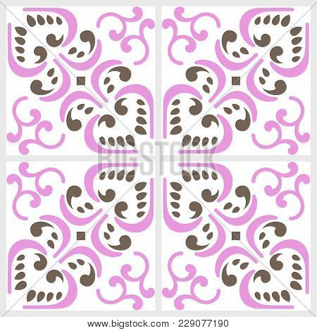 Traditional ornate for majolica ceramic tiles, seamless pattern in pink brown. Portuguese, spanish, moroccan, tunisian style. For wallpaper, textures, porcelain, fabric swatch. Vector illustration stock photo