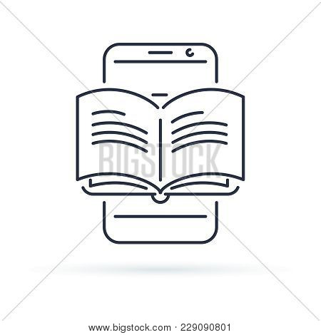 Educational mobile app concept, hand finger touching app smartphone button, opened book, vector line icon. Mobile reader app icon. Online courses icon for library, study or tutorials. stock photo