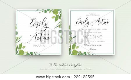 Wedding floral watercolor style double invite, invitation, save the date card design with forest greenery, herbs, leaves, eucalyptus branches, white lilac flowers. Vector, botanical, elegant template stock photo
