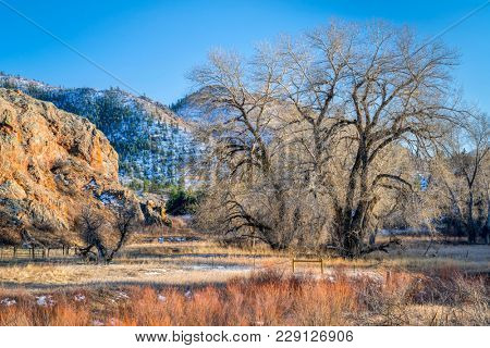 mountain valley with pastures - Eagle Nest Open Space in northern Colorado at Livermore, winter scenery stock photo