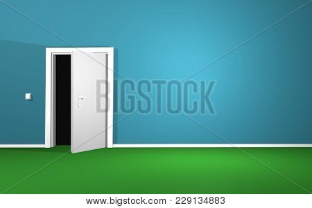 half opened door in empty room 3d illustration stock photo