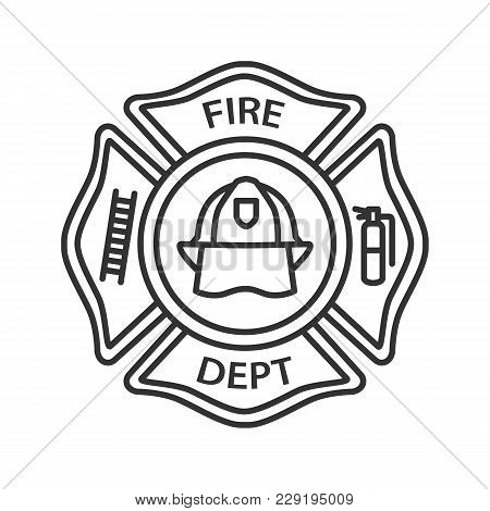 Fire Department Badge Linear Icon Firefighting Emblem With Helmet