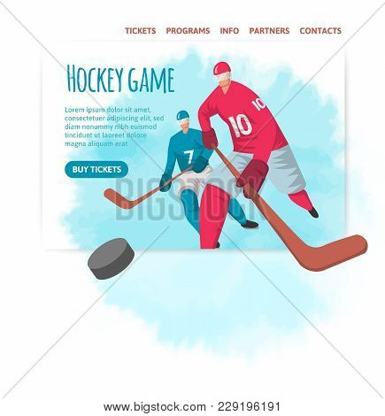 Two hockey players in abstract flat style. Vector illutration, design template of sport site header, banner or poster. stock photo