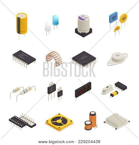 Semiconductor device electronic components isometric icons set with signal photo and transient voltage diodes isolated vector illustration stock photo
