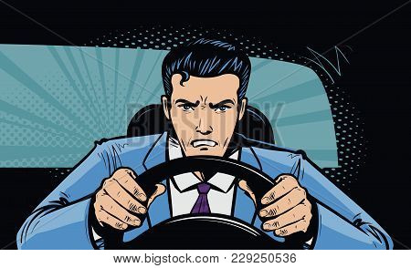 Aggressive driver behind the wheel of car. Race, pursuit in pop art retro comic style. Cartoon vector stock photo