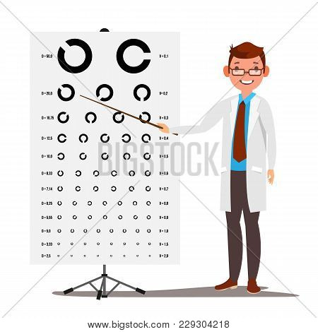 Male Ophthalmology Vector. Sight, Eyesight. Optical Examination. Doctor And Eye Test Chart In Clinic. Ophthalmologist Examining Patient. Medicine Concept. Isolated Illustration stock photo