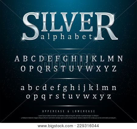 80s Retro Elegant silver Colored Metal Chrome alphabet font. Typography classic style silver font set for logo, Poster, Invitation. vector illustration stock photo