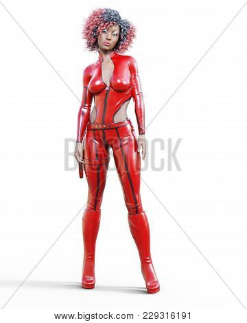 3D beautiful tall woman in leather red bodysuit. Latex tight fitting suit. Gun in holster. Girl studio photography. High heel. Conceptual fashion art. Seductive candid pose. Realistic illustration. stock photo