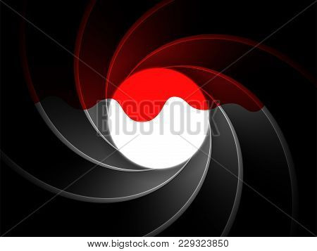 Inside gun barrel background dripped with blood. Classical  secret agent 007 theme remastered into a vector illustration template, good for spy themed designs. Spiral or vortex pattern. stock photo