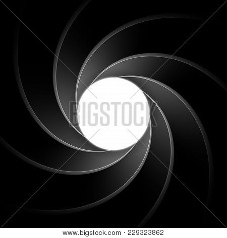 Inside gun barrel template. Classical secret agent theme remastered into a vector illustration. Background, element or backdrop for spy themed designs. Spiral or vortex pattern. stock photo