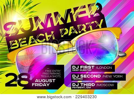 Summer Beach Party Poster for Music Festival. Electronic Music Cover Design for Summer Fest or DJ Party Flyer. Bright Green Background with Sunglasses and Palm Leaf. Summer Vibes. stock photo