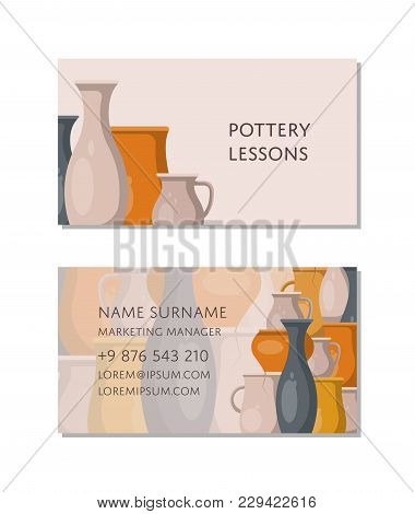 Pottery lessons business card template with traditional clay ceramics. Create handmade pottery in workshop advertising. Corporate identity retro design for pottery master classes vector illustration. stock photo
