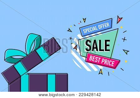 Retail sale poster with open gift box on blue background. Special offer, best price, retail marketing promotion, advertising campaign, weekend and holiday shopping vector illustration in linear style. stock photo