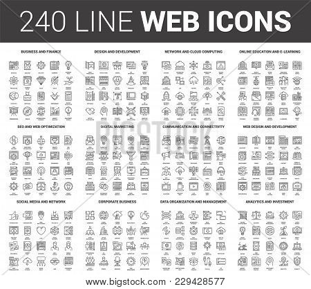 Vector set of 240 64X64 pixel perfect flat line web icons. Fully editable and easy to use. stock photo