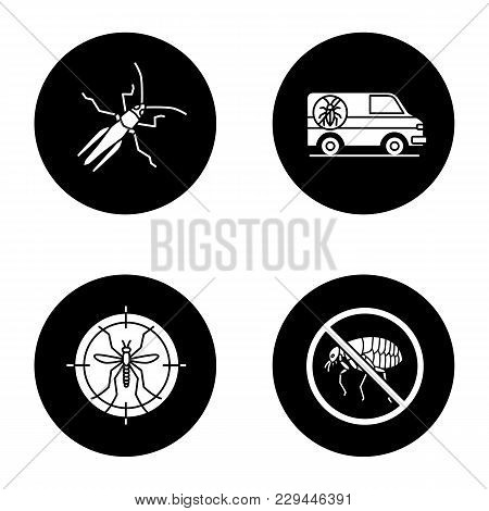 Pest control glyph icons set. Grasshopper, exterminator's car, mosquito target, stop fleas. Vector white silhouettes illustrations in black circles stock photo