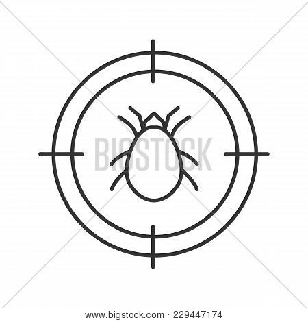 Mite target linear icon. Parasitic insects repellent. Thin line illustration. Contour symbol. Vector isolated outline drawing stock photo