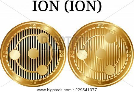 Set of physical golden coin ION (ION), digital cryptocurrency. ION (ION) icon set. Vector illustration isolated on white background. stock photo