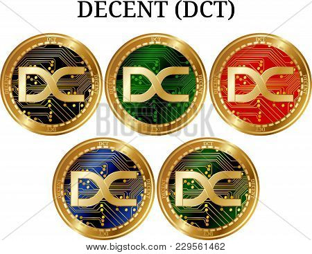Set of physical golden coin DECENT (DCT), digital cryptocurrency. DECENT (DCT) icon set. Vector illustration isolated on white background. stock photo