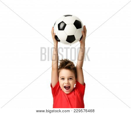 Fan sport boy player hold soccer ball celebrating happy smiling laughing free text copy space isolated on white background stock photo