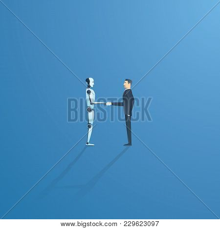Ai or artificial intelligence vector concept with ai robot handshake with human. Symbol of future cooperation, technology advance, innovation. Eps10 vector illustration. stock photo