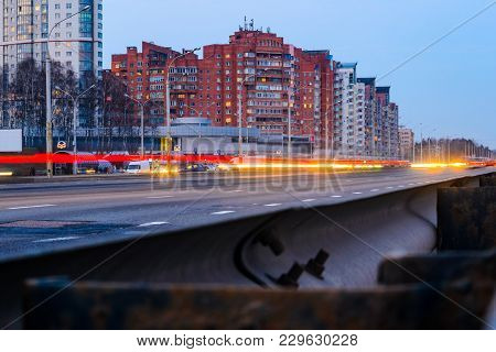 City intersection in the evening view from above. City traffic at night stock photo