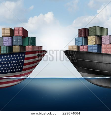 American trade war tariffs in the United states as two opposing cargo ships as an economic  taxation dispute over import and exports concept as a 3D illustration. stock photo