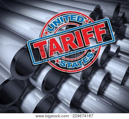 Steel and aluminum tariffs in the United states as a stamp on metal background as an economic trade taxation dispute over import and exports concept as a 3D illustration. stock photo