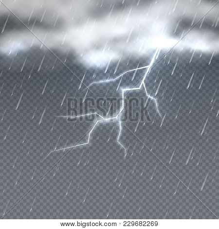 Storm and lightning with rain and clouds in sky isolated. Climate vector background. Storm weather rain and lightning illustration stock photo