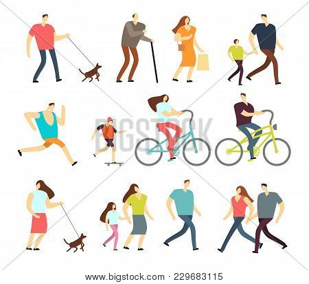 Active people walking, riding bike, running outdoor vector character set. Ride bike and activity lifestyle walking and sport jogging illustration stock photo
