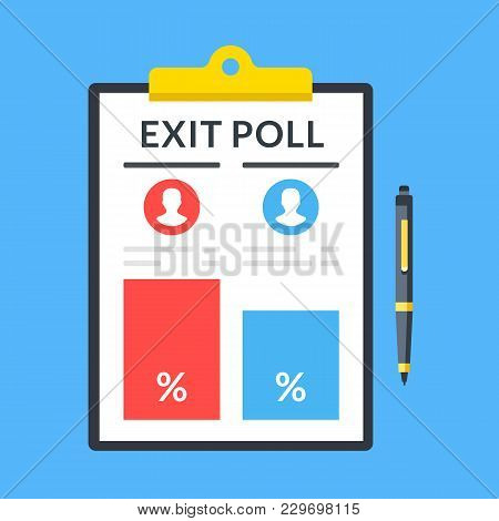 Exit poll. Pen and clipboard with election results. Top view. Modern flat design graphic elements. Vector illustration stock photo