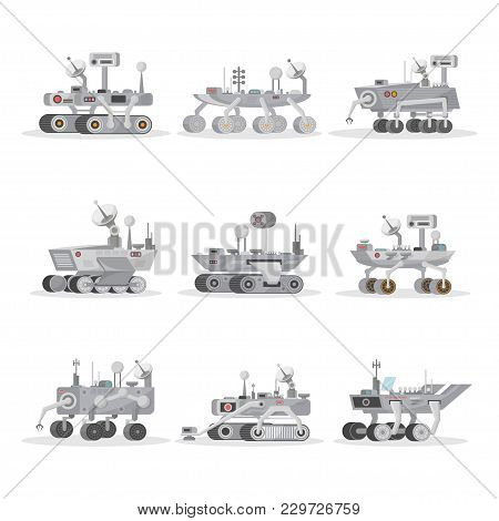 Mars rover with camera, wheels, antenna and hand manipulator. Robotic space autonomous vehicles for planet exploration and cosmic colonization. Aeronautics equipment, space technology in flat style. stock photo