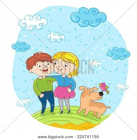 Happy children with dog cartoon characters illustration. Smiling girl and boy cuddling and having fun, smiling and chatting at park. Summer holidays, vacation, happy people. friends having fun stock photo