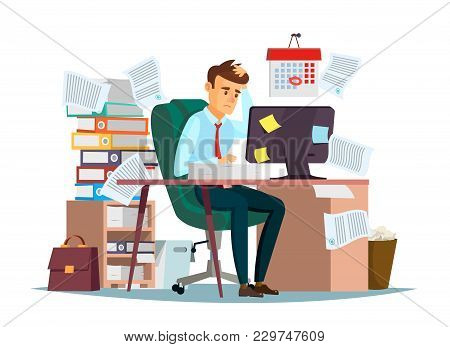 Man overwork in office, deadline vector illustration. Manager sitting at computer desk with stack of documents in mess and deadline tasks sticky notes holding hand on head flat cartoon office design stock photo