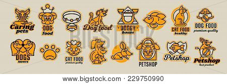 Set of logos on the theme of animals. Shop for pets, food. Cat, dog, rabbit, fish in the aquarium, collar, bone, bowl, kennel, bag, supermarket trolley, crown. Vector illustration, line style stock photo