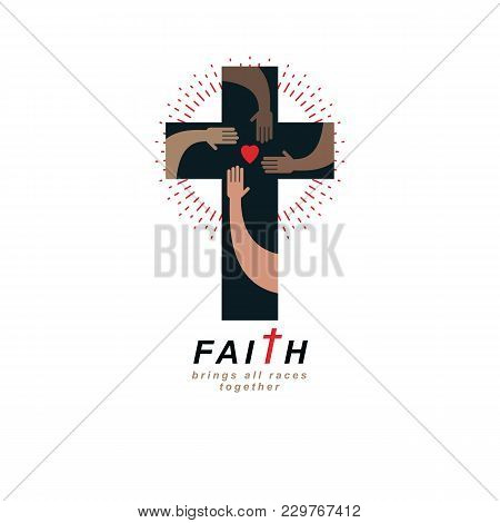 True Belief and Religion brings people together. Christian Cross true belief in God vector symbol, Christianity religion icon. stock photo