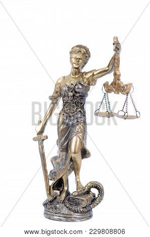 Law and Justice, Legality concept, Scales of Justice, Justitia, Lady Justice on the white isolated background. stock photo