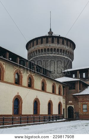 Sforza Castle, Italian: Castello Sforzesco, is in Milan, northern Italy. It was built in the 15th century by Francesco Sforza, Duke of Milan, on the remnants of a 14th-century fortification stock photo