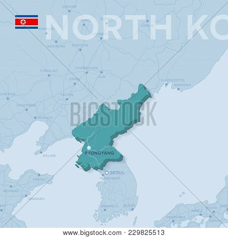 3d verctor map of cities and roads in Asia. North Korea and its neighbors. stock photo