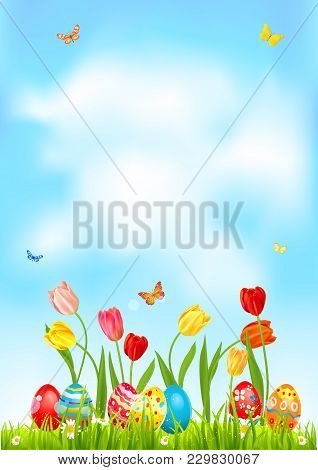 Bright Easter eggs on a grass. Easter holiday background for design card, banner, ticket, leaflet, poster and so on. Template with space for text. Happy Easter lettering. stock photo