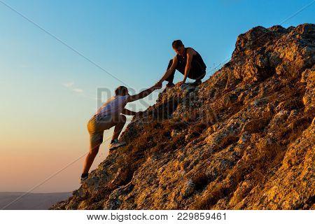 Teamwork Assistance Mountain Rock Climbing Challenge Dawn Sunrise