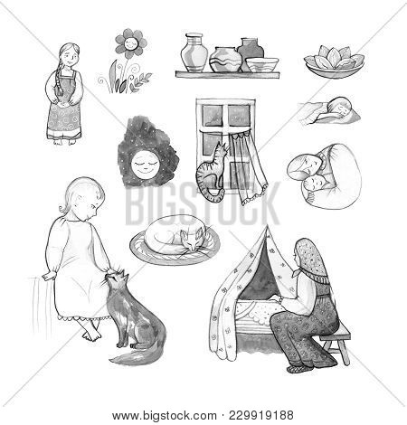 Goodnight set, hand-drawn design elements. Mom and baby. stock photo