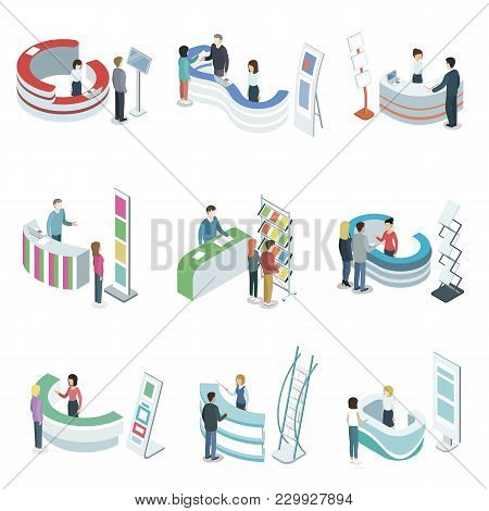 Reception counter desks isometric 3D set. Company entrance interior, information and exhibition ad stand, hotel or office lobby, reception hall in business center with people vector illustration. stock photo