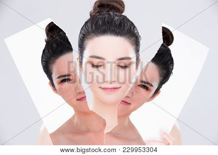 woman close eye  with beauty skin care concept before and after on the gray background stock photo