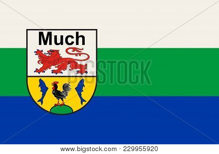 Flag of Much is a municipality in the Rhein-Sieg district, in North Rhine-Westphalia, Germany. Vector illustration stock photo