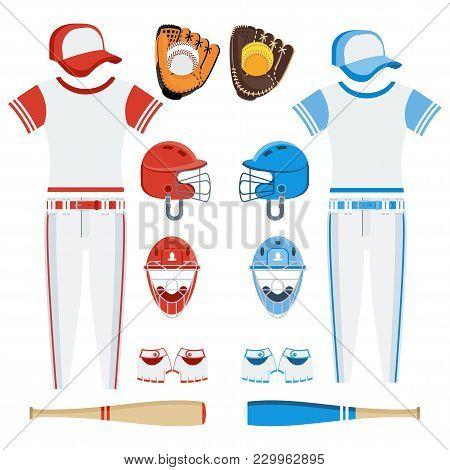Baseball equipment set. Bat, ball, softball gloves, batting helmets, catcher gear and leg guards. Flat vector cartoon illustration. Objects isolated on a white background. stock photo