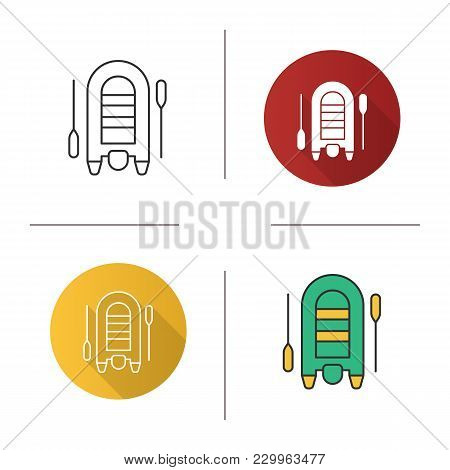 Inflatable rubber motor boat icon. Flat design, linear and color styles. Dinghy with paddles. Isolated vector illustrations stock photo