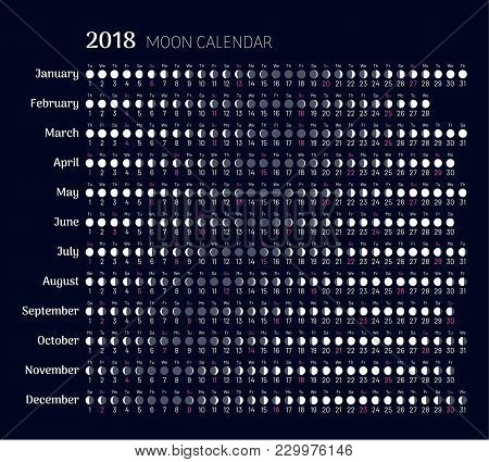 Lunar calendar 2018 year in flat style. Planner with all months. Moon phases on scheduler. Convenient calendar for busy people and addicted to astrology. Flat vector illustration of menology stock photo